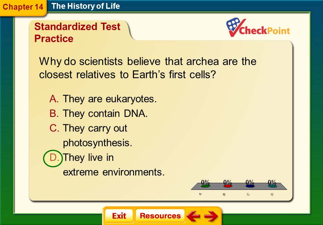 1.A 2.B 3.C 4.D STP 6 The History of Life Chapter 14 Standardized Test Practice A. They are eukaryotes. B. They contain DNA. C. They carry out photosy