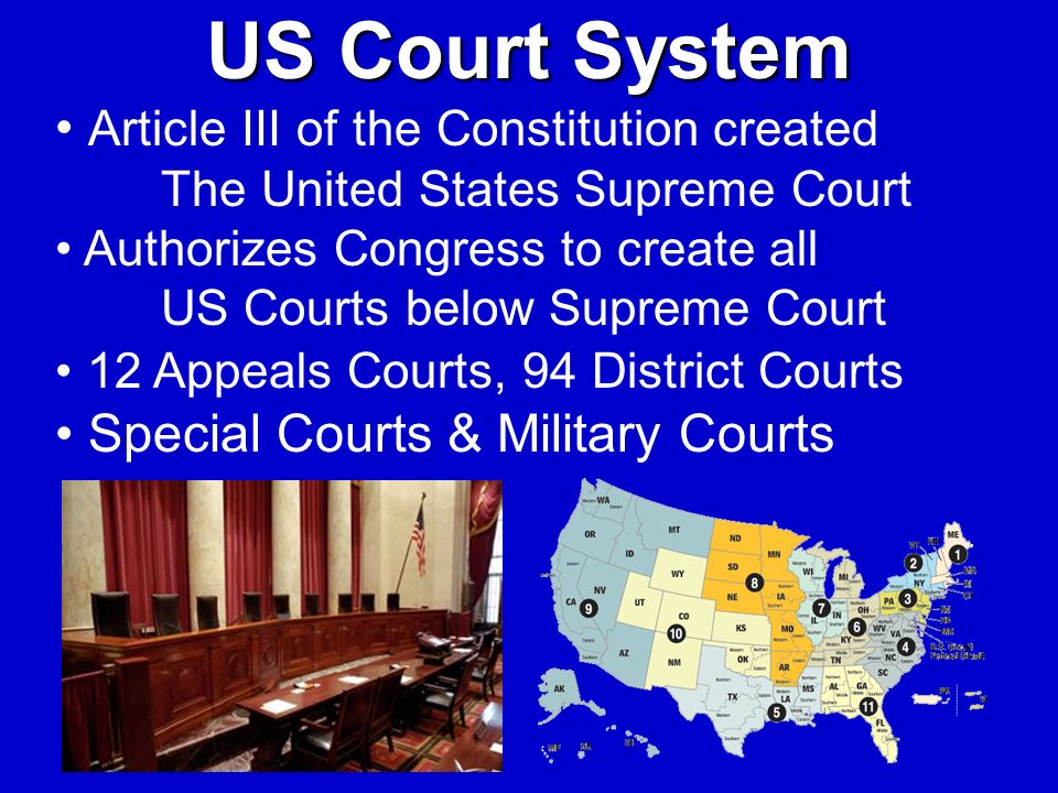 US Court System Article III of the Constitution created The United States Supreme Court Authorizes Congress to create all US Courts below Supreme Cour
