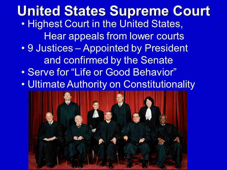 United States Supreme Court Highest Court in the United States, Hear appeals from lower courts 9 Justices – Appointed by President and confirmed by th