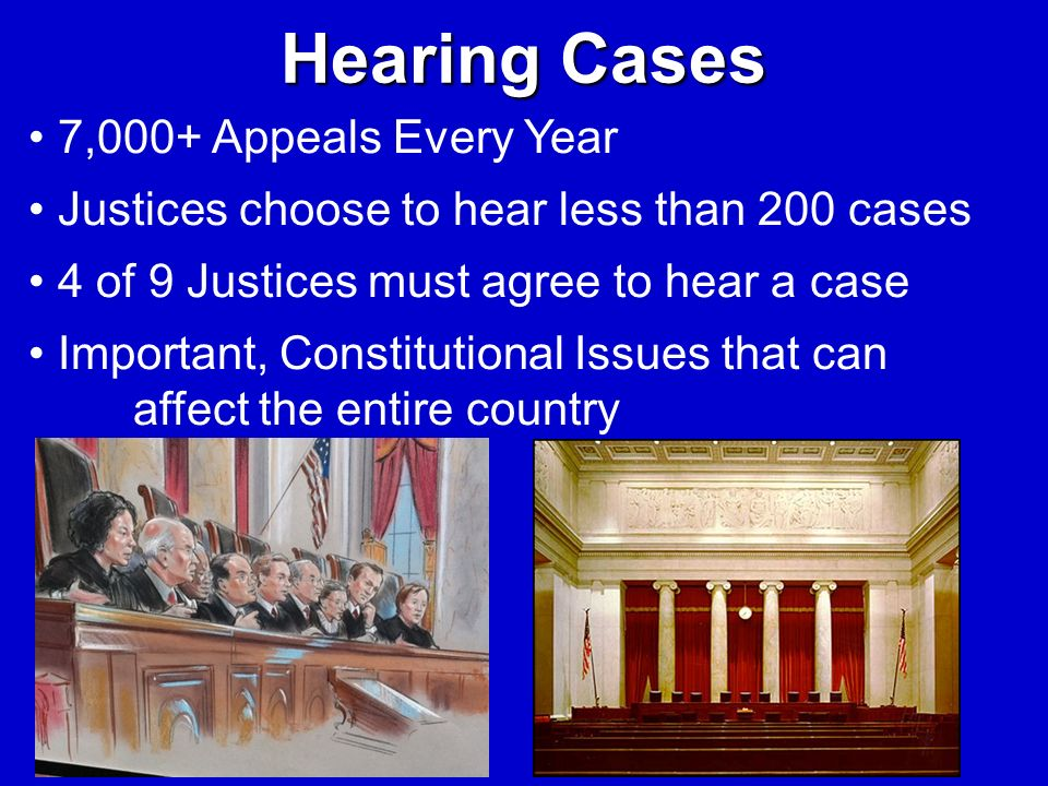 Hearing Cases 7,000+ Appeals Every Year Justices choose to hear less than 200 cases 4 of 9 Justices must agree to hear a case Important, Constitutiona