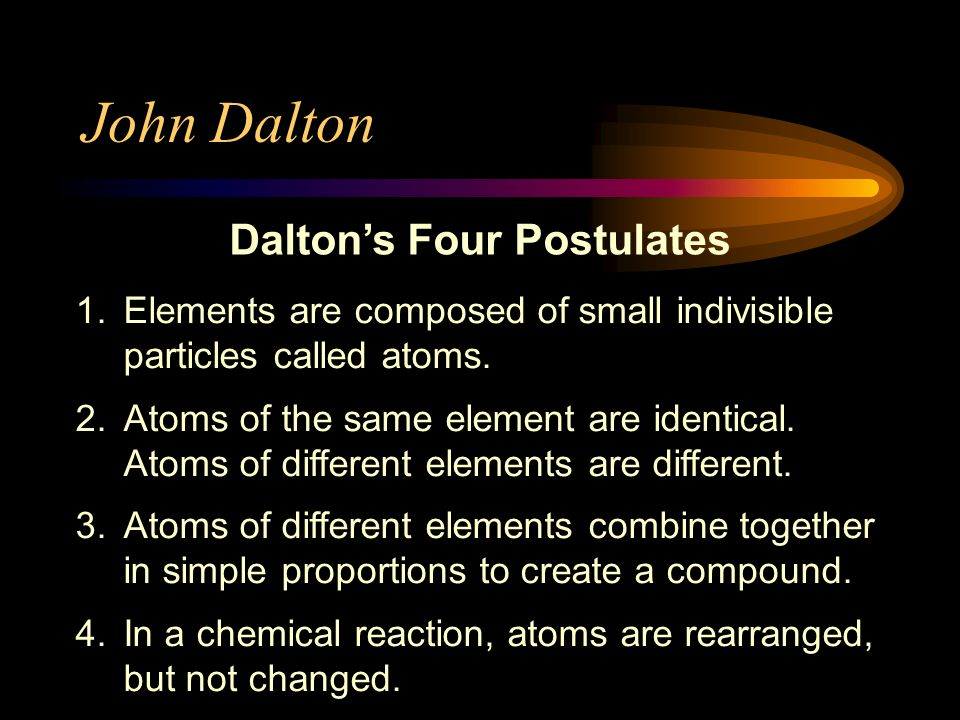 Theories cont. John Dalton (1803) –English schoolteacher –Thought about atoms as particles that might compose elements –Billiard Ball Model atom is a