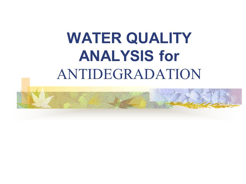 WATER QUALITY ANALYSIS for ANTIDEGRADATION