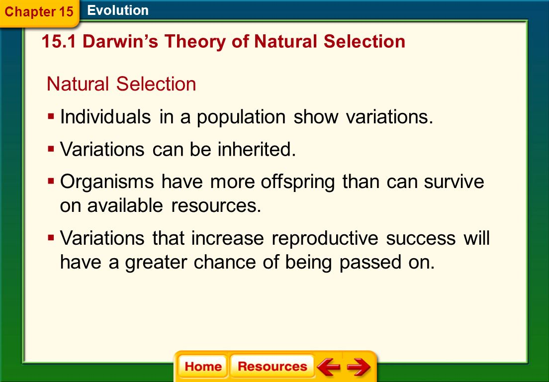 Evolution Natural Selection Acts to select the individuals that are best adapted for survival and reproduction 15.3 Shaping Evolutionary Theory Chapter 15