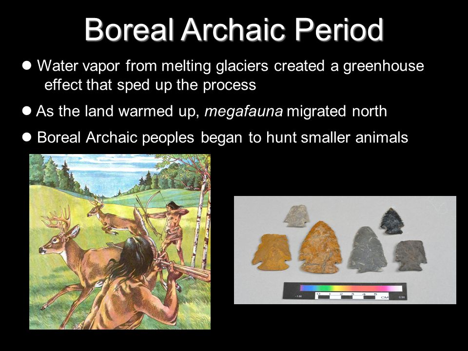 Boreal Archaic Period Water vapor from melting glaciers created a greenhouse effect that sped up the process As the land warmed up, megafauna migrated north Boreal Archaic peoples began to hunt smaller animals