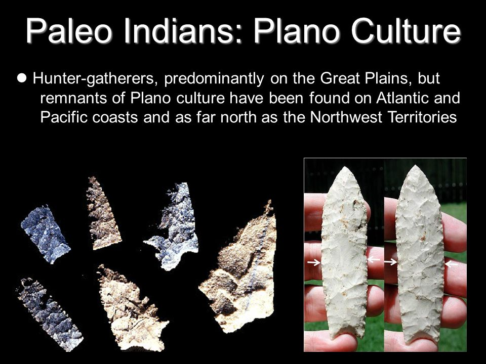 Paleo Indians: Plano Culture Hunter-gatherers, predominantly on the Great Plains, but remnants of Plano culture have been found on Atlantic and Pacific coasts and as far north as the Northwest Territories