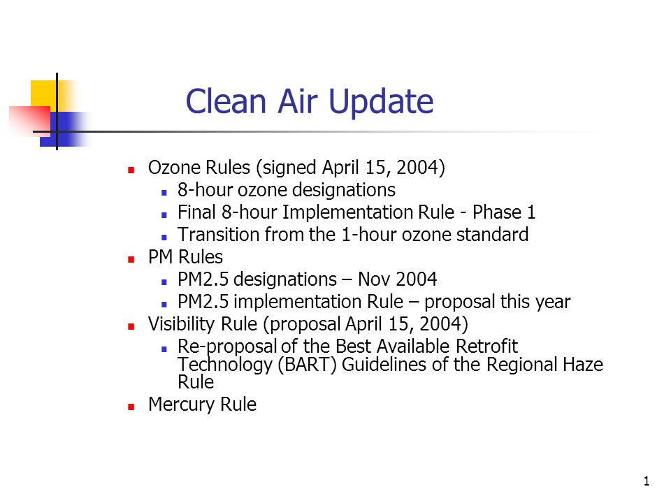 1 Clean Air Update Ozone Rules (signed April 15, 2004) 8-hour ozone designations Final 8-hour Implementation Rule - Phase 1 Transition from the 1-hour