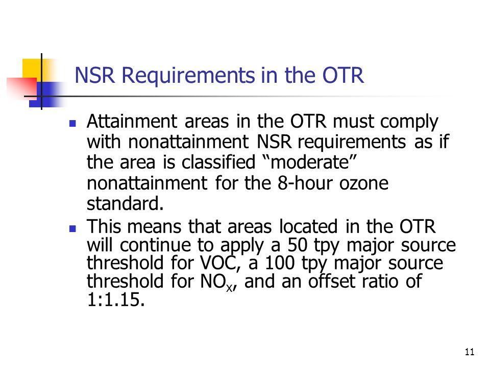 11 NSR Requirements in the OTR Attainment areas in the OTR must comply with nonattainment NSR requirements as if the area is classified moderate nonattainment for the 8-hour ozone standard.