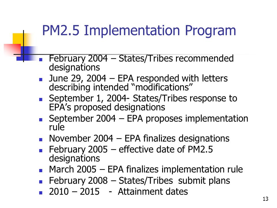 13 PM2.5 Implementation Program February 2004 – States/Tribes recommended designations June 29, 2004 – EPA responded with letters describing intended