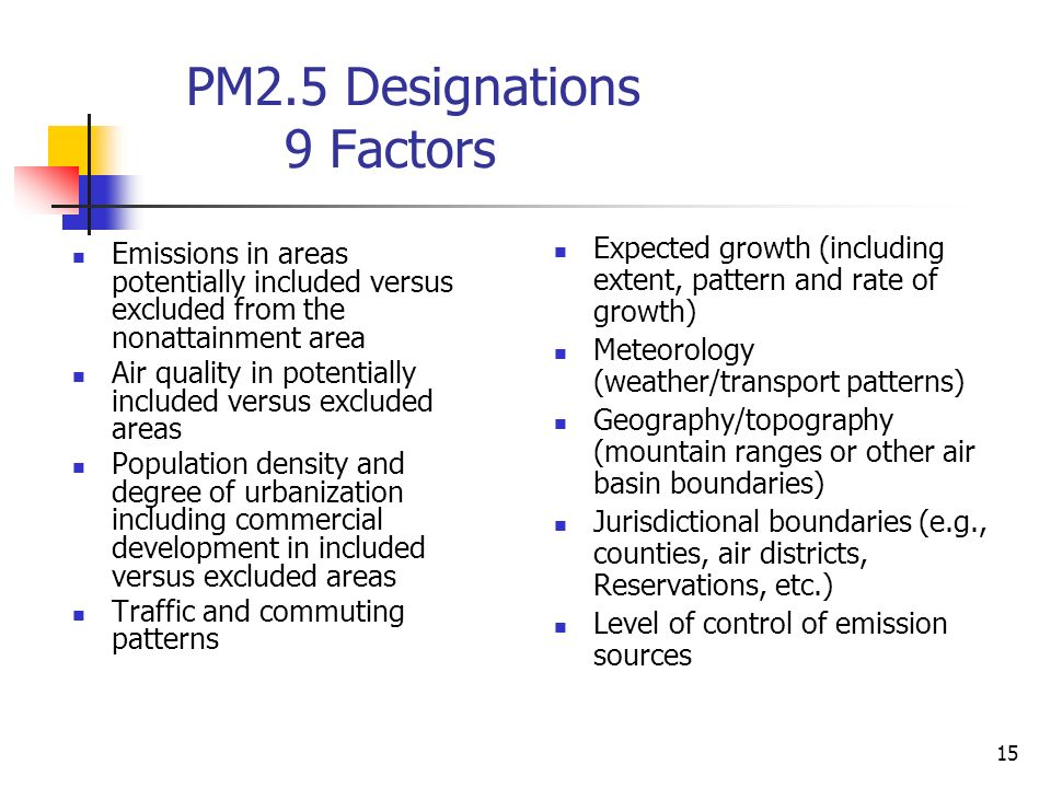 15 PM2.5 Designations 9 Factors Emissions in areas potentially included versus excluded from the nonattainment area Air quality in potentially included versus excluded areas Population density and degree of urbanization including commercial development in included versus excluded areas Traffic and commuting patterns Expected growth (including extent, pattern and rate of growth) Meteorology (weather/transport patterns) Geography/topography (mountain ranges or other air basin boundaries) Jurisdictional boundaries (e.g., counties, air districts, Reservations, etc.) Level of control of emission sources