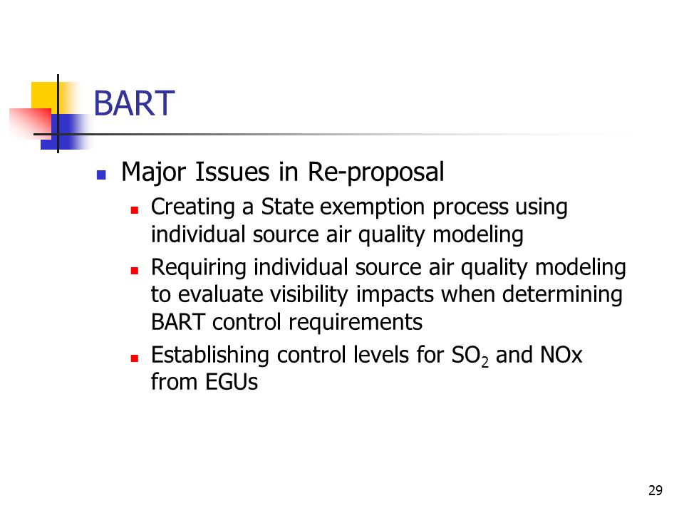 29 BART Major Issues in Re-proposal Creating a State exemption process using individual source air quality modeling Requiring individual source air quality modeling to evaluate visibility impacts when determining BART control requirements Establishing control levels for SO 2 and NOx from EGUs