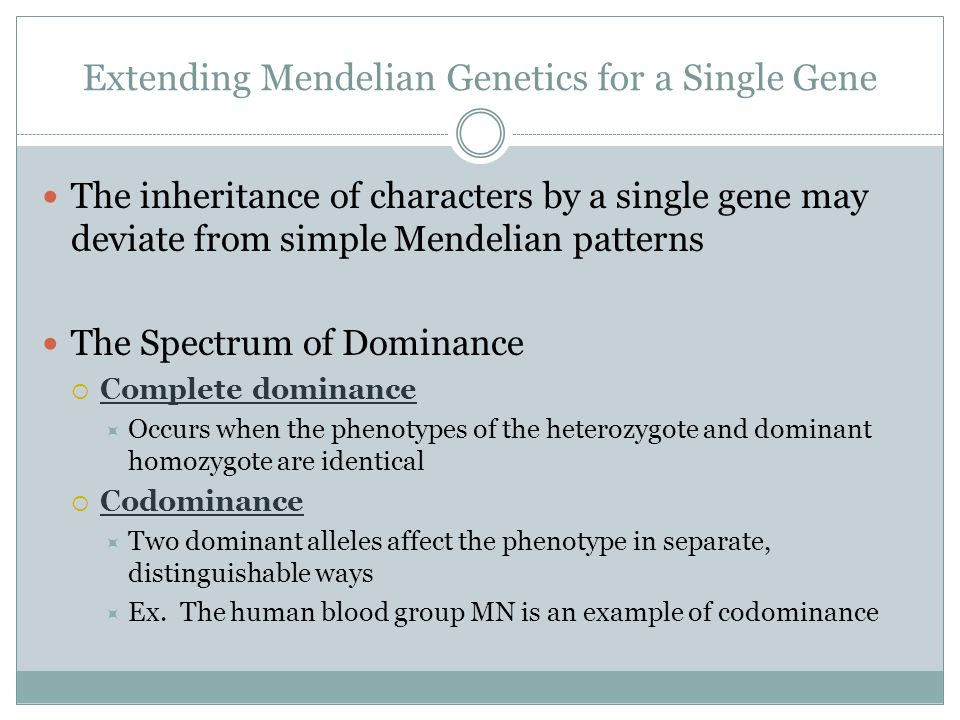 Extending Mendelian Genetics for a Single Gene The inheritance of characters by a single gene may deviate from simple Mendelian patterns The Spectrum