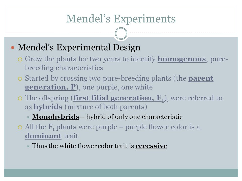 Mendels Experiments Mendels Experimental Design Grew the plants for two years to identify homogenous, pure- breeding characteristics Started by crossi
