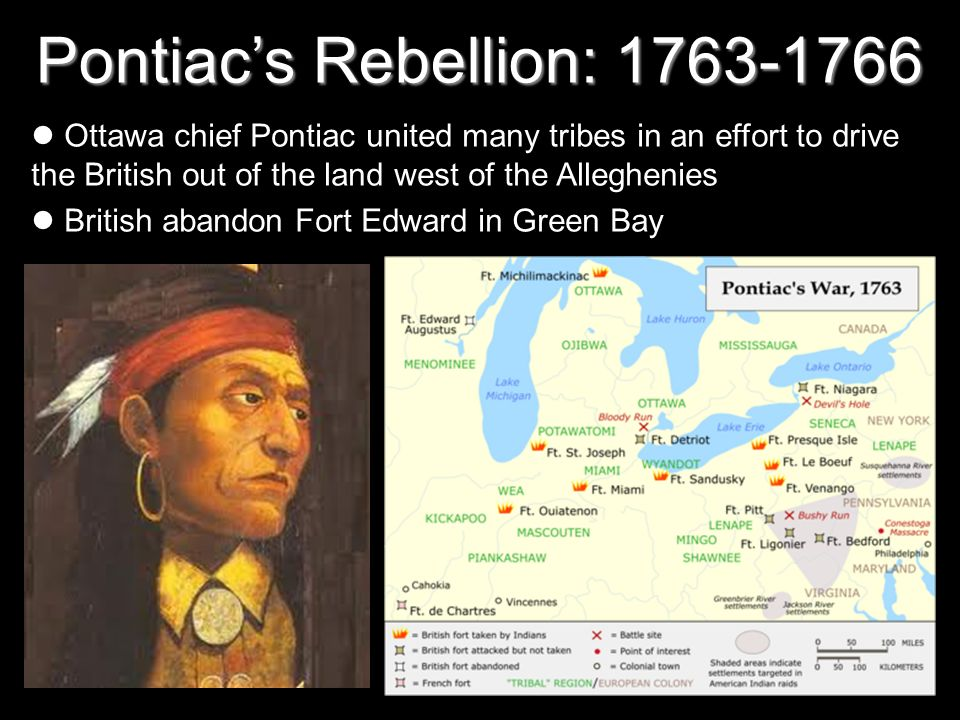 Pontiacs Rebellion: 1763-1766 Ottawa chief Pontiac united many tribes in an effort to drive the British out of the land west of the Alleghenies British abandon Fort Edward in Green Bay