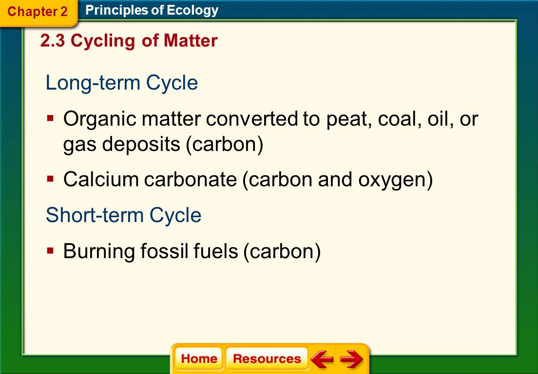 Principles of Ecology Carbon and oxygen recycle relatively quickly through living organisms. 2.3 Cycling of Matter Chapter 2 Carbon and oxygen often m