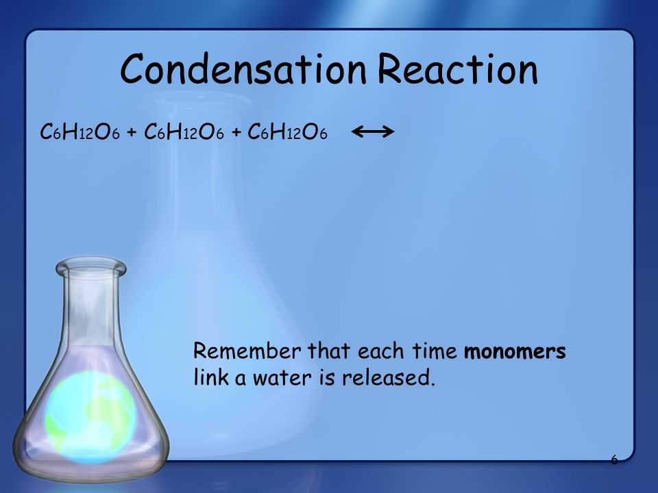 Condensation Reaction C 6 H 12 O 6 + C 6 H 12 O 6 + C 6 H 12 O 6 6 Remember that each time monomers link a water is released.