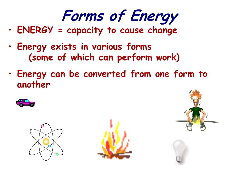 KINETIC ENERGY – energy associated with motion –HEAT (thermal energy) is kinetic energy associated with random movement of atoms or molecules POTENTIAL ENERGY = energy that matter possesses because of its location or structure –CHEMICAL energy is potential energy available for release in a chemical reaction