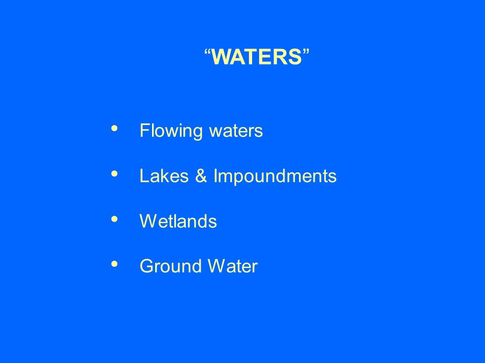 WATERS Flowing waters Lakes & Impoundments Wetlands Ground Water