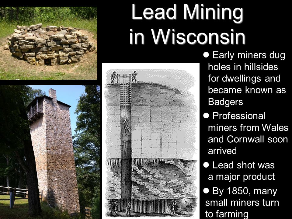 Lead Mining in Wisconsin Early miners dug holes in hillsides for dwellings and became known as Badgers Professional miners from Wales and Cornwall soo