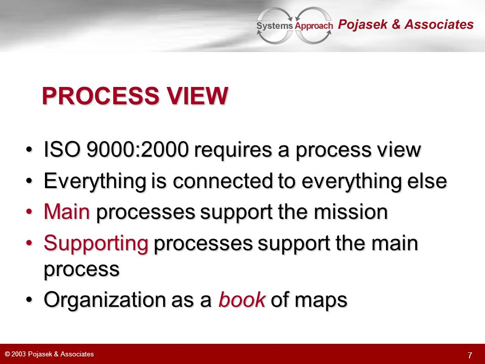 © 2003 Pojasek & Associates 7 PROCESS VIEW ISO 9000:2000 requires a process viewISO 9000:2000 requires a process view Everything is connected to everything elseEverything is connected to everything else Main processes support the missionMain processes support the mission Supporting processes support the main processSupporting processes support the main process Organization as a book of mapsOrganization as a book of maps