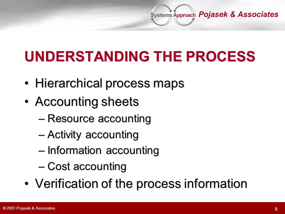 © 2003 Pojasek & Associates 8 UNDERSTANDING THE PROCESS Hierarchical process mapsHierarchical process maps Accounting sheetsAccounting sheets –Resource accounting –Activity accounting –Information accounting –Cost accounting Verification of the process informationVerification of the process information