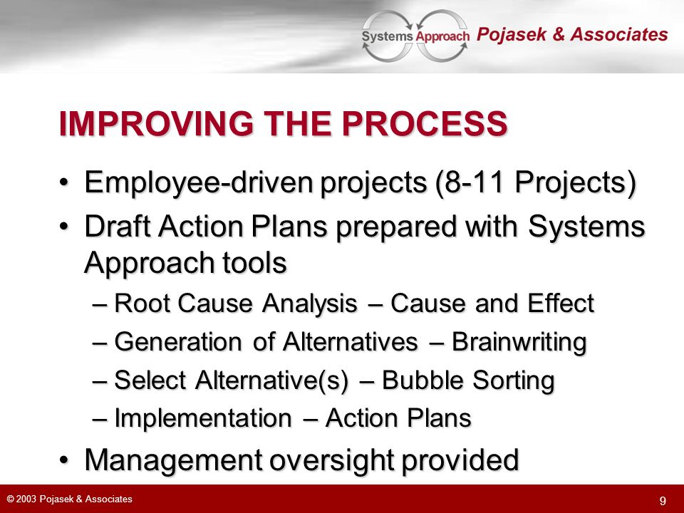 © 2003 Pojasek & Associates 9 IMPROVING THE PROCESS Employee-driven projects (8-11 Projects)Employee-driven projects (8-11 Projects) Draft Action Plans prepared with Systems Approach toolsDraft Action Plans prepared with Systems Approach tools –Root Cause Analysis – Cause and Effect –Generation of Alternatives – Brainwriting –Select Alternative(s) – Bubble Sorting –Implementation – Action Plans Management oversight providedManagement oversight provided