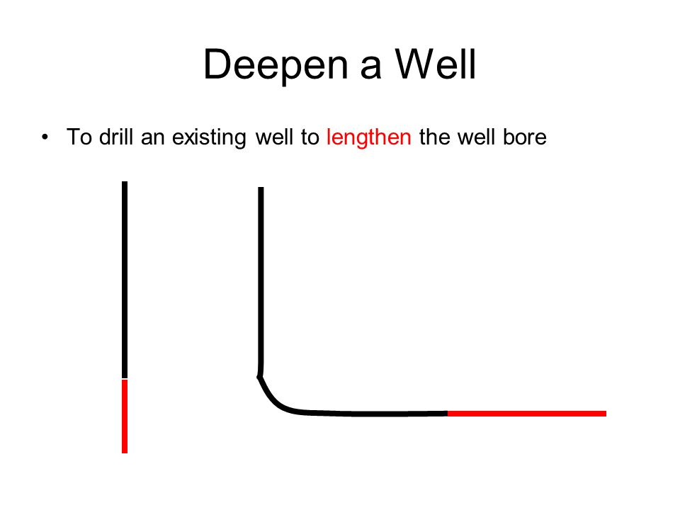 Deepen a Well To drill an existing well to lengthen the well bore