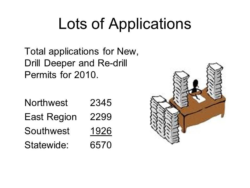 Lots of Applications Total applications for New, Drill Deeper and Re-drill Permits for 2010.