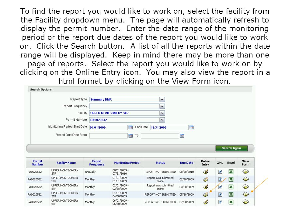 To find the report you would like to work on, select the facility from the Facility dropdown menu. The page will automatically refresh to display the