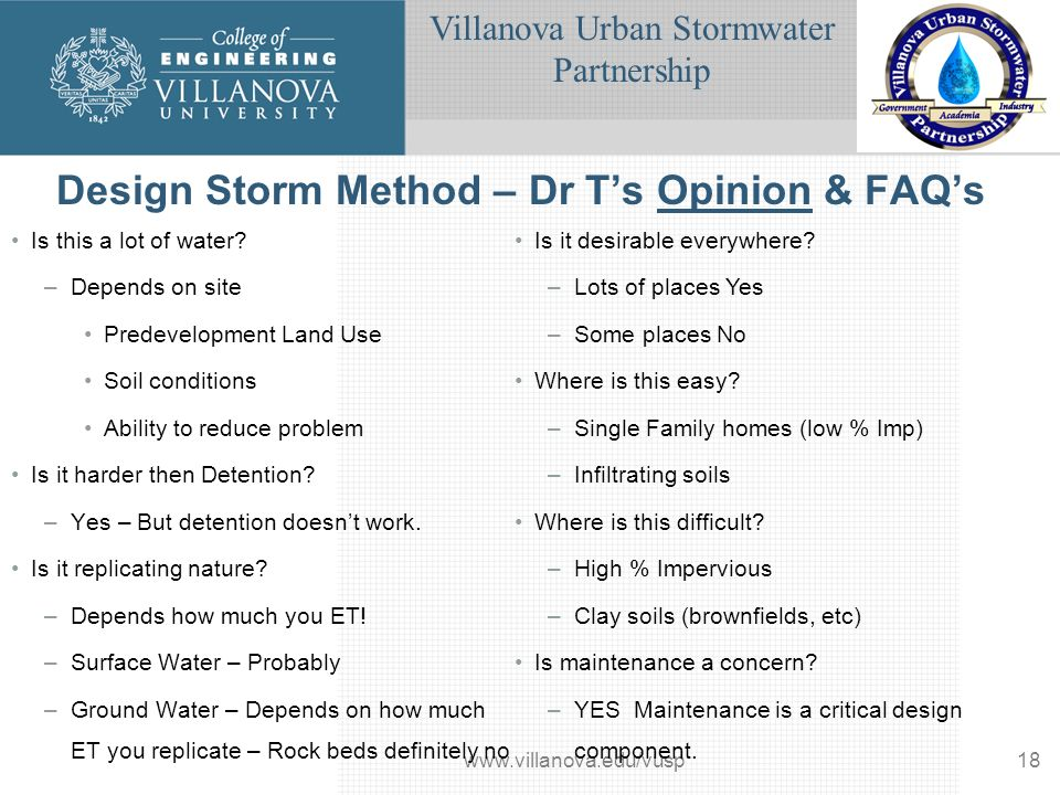Villanova Urban Stormwater Partnership www.villanova.edu/vusp18 Design Storm Method – Dr Ts Opinion & FAQs Is this a lot of water.