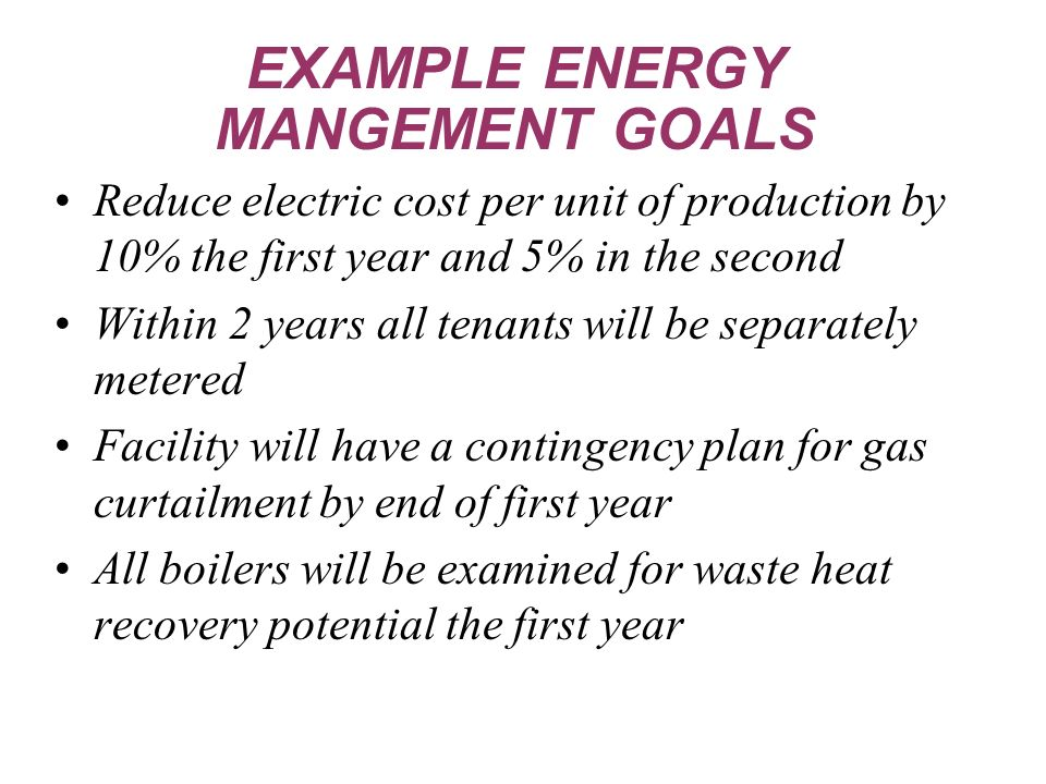 Reduce electric cost per unit of production by 10% the first year and 5% in the second Within 2 years all tenants will be separately metered Facility will have a contingency plan for gas curtailment by end of first year All boilers will be examined for waste heat recovery potential the first year EXAMPLE ENERGY MANGEMENT GOALS