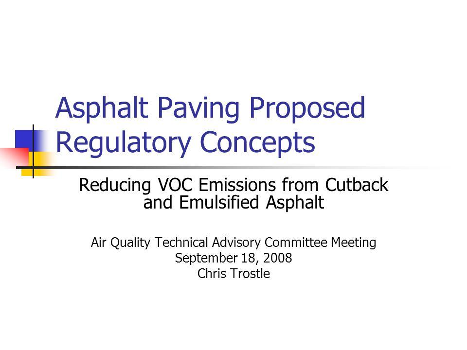 Background Three types of asphalt Hot Mix – lowest VOC content Cutback – highest VOC content Emulsified – VOC content varies Existing regulation – Cutback asphalt paving §129.64 Restricts use of cutback asphalt.