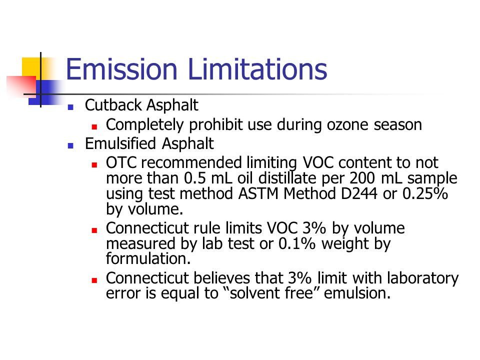 Emission Limitations Cutback Asphalt Completely prohibit use during ozone season Emulsified Asphalt OTC recommended limiting VOC content to not more t