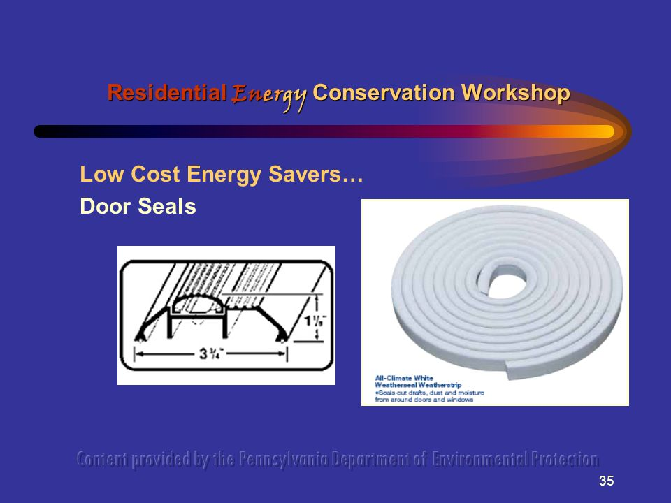 35 Low Cost Energy Savers… Door Seals Residential Energy Conservation Workshop