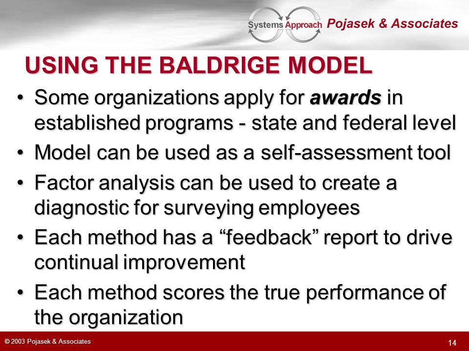 © 2003 Pojasek & Associates 14 USING THE BALDRIGE MODEL Some organizations apply for awards in established programs - state and federal levelSome orga