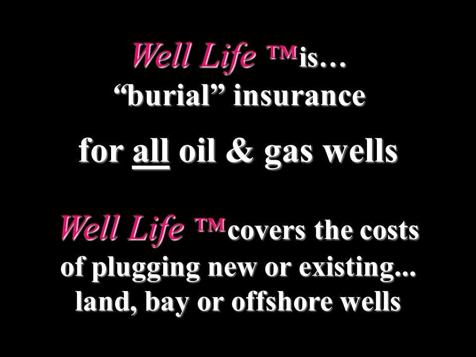 Well Life is… burial insuranceburial insurance for all oil & gas wells Well Life covers the costs of plugging new or existing...