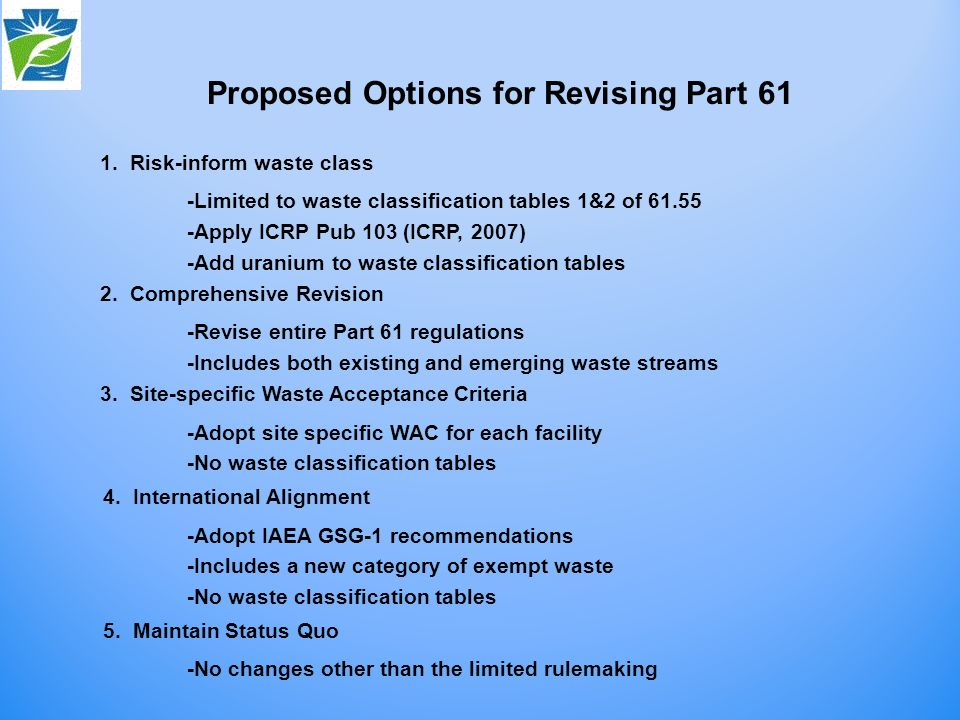 1. Risk-inform waste class -Limited to waste classification tables 1&2 of 61.55 -Apply ICRP Pub 103 (ICRP, 2007) -Add uranium to waste classification