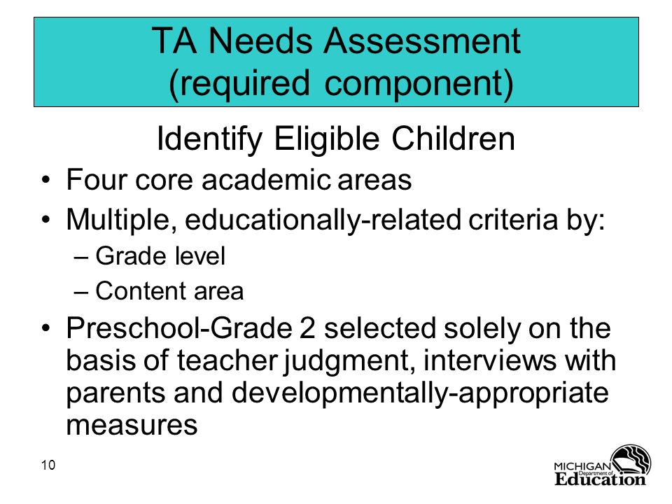10 TA Needs Assessment (required component) Identify Eligible Children Four core academic areas Multiple, educationally-related criteria by: –Grade le