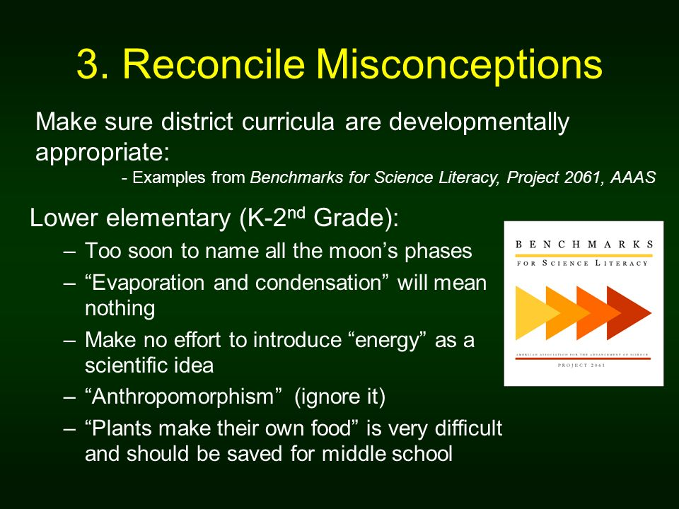 3. Reconcile Misconceptions Lower elementary (K-2 nd Grade): –Too soon to name all the moons phases –Evaporation and condensation will mean nothing –M
