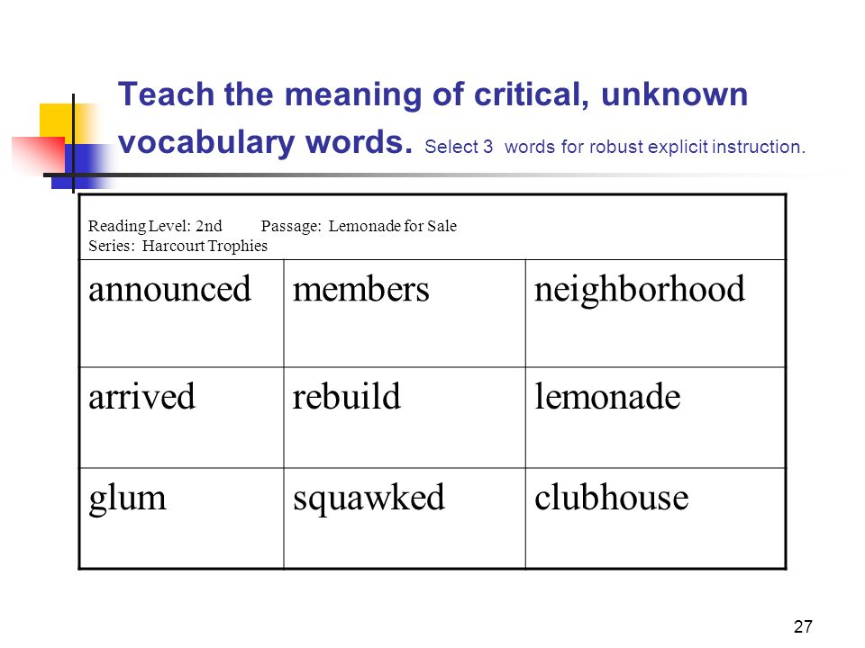 27 Teach the meaning of critical, unknown vocabulary words. Select 3 words for robust explicit instruction. Reading Level: 2ndPassage: Lemonade for Sa