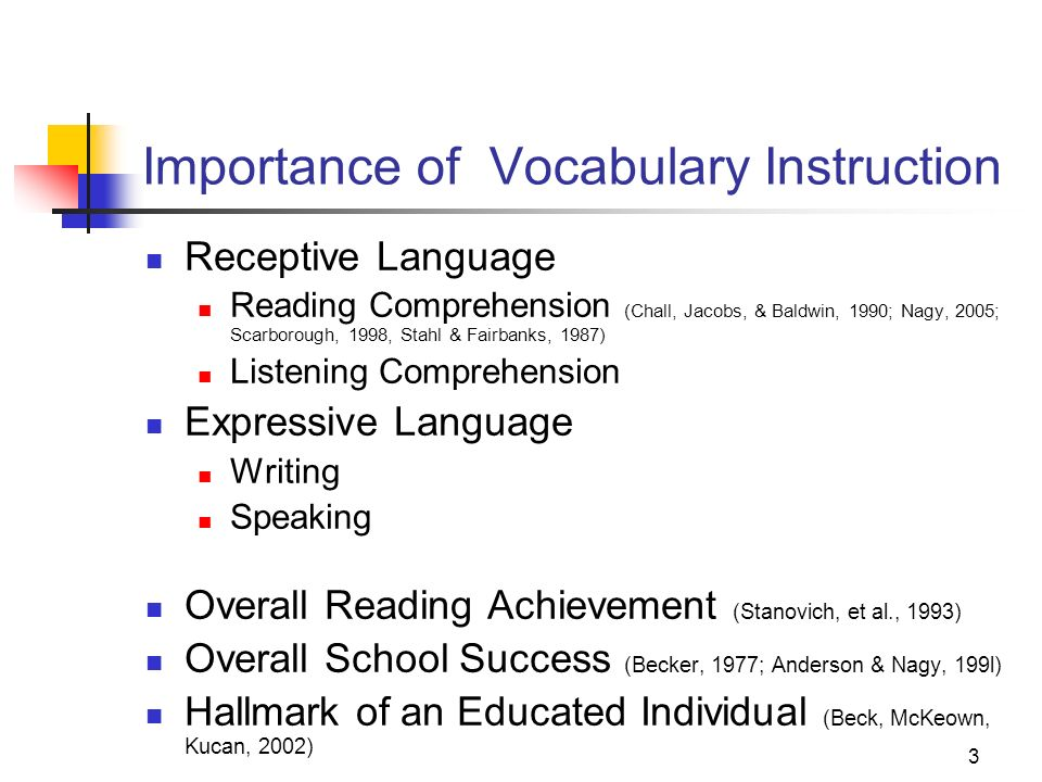 3 Importance of Vocabulary Instruction Receptive Language Reading Comprehension (Chall, Jacobs, & Baldwin, 1990; Nagy, 2005; Scarborough, 1998, Stahl