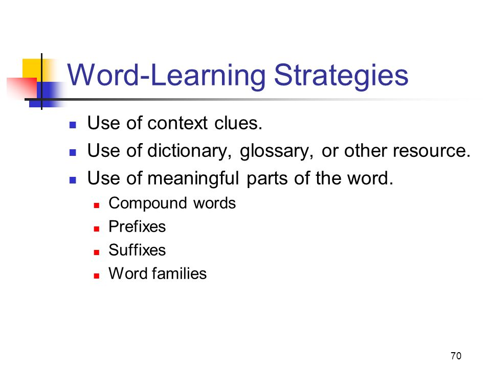 70 Word-Learning Strategies Use of context clues. Use of dictionary, glossary, or other resource. Use of meaningful parts of the word. Compound words