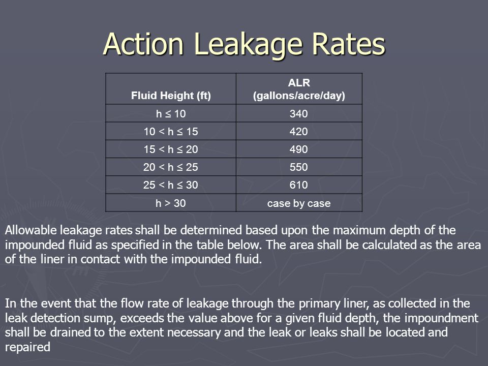Action Leakage Rates Fluid Height (ft) ALR (gallons/acre/day) h 10340 10 < h 15420 15 < h 20490 20 < h 25550 25 < h 30610 h > 30case by case In the ev