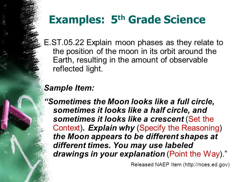 Examples: 5 th Grade Science E.ST.05.22 Explain moon phases as they relate to the position of the moon in its orbit around the Earth, resulting in the