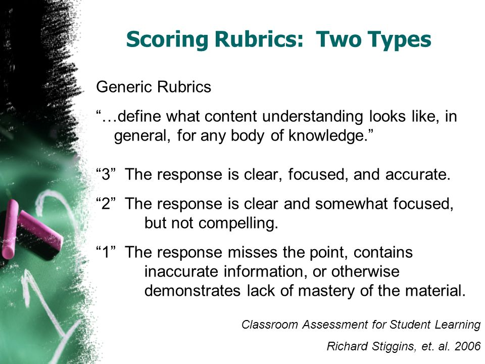 Scoring Rubrics: Two Types Generic Rubrics …define what content understanding looks like, in general, for any body of knowledge. 3 The response is cle