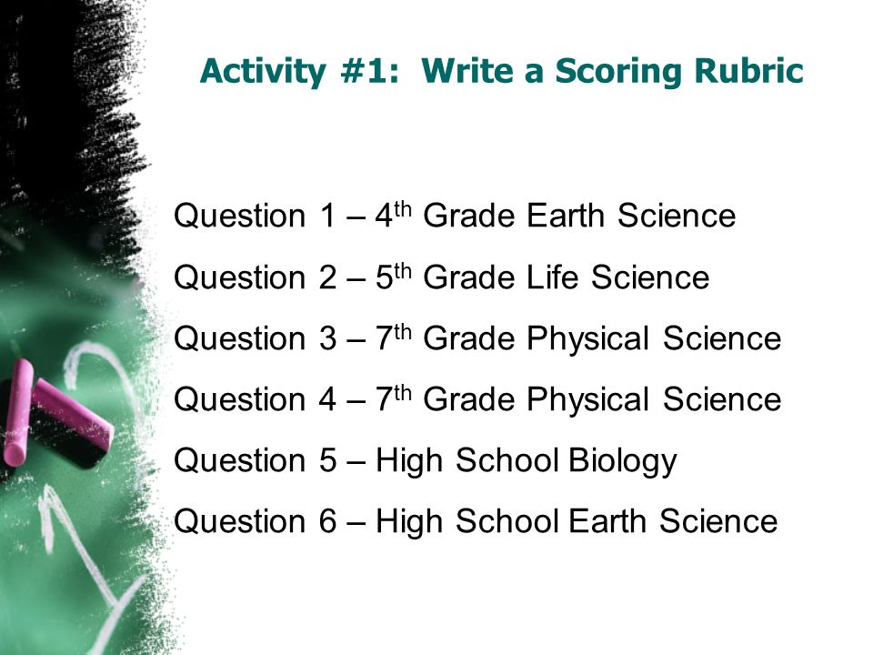 Activity #1: Write a Scoring Rubric Question 1 – 4 th Grade Earth Science Question 2 – 5 th Grade Life Science Question 3 – 7 th Grade Physical Scienc