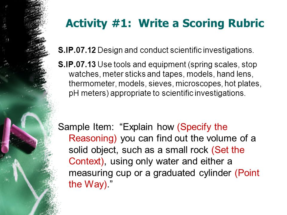 S.IP.07.12 Design and conduct scientific investigations. S.IP.07.13 Use tools and equipment (spring scales, stop watches, meter sticks and tapes, mode