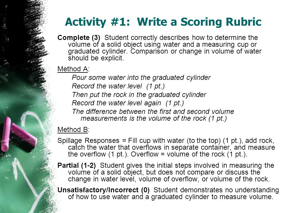 Complete (3) Student correctly describes how to determine the volume of a solid object using water and a measuring cup or graduated cylinder. Comparis