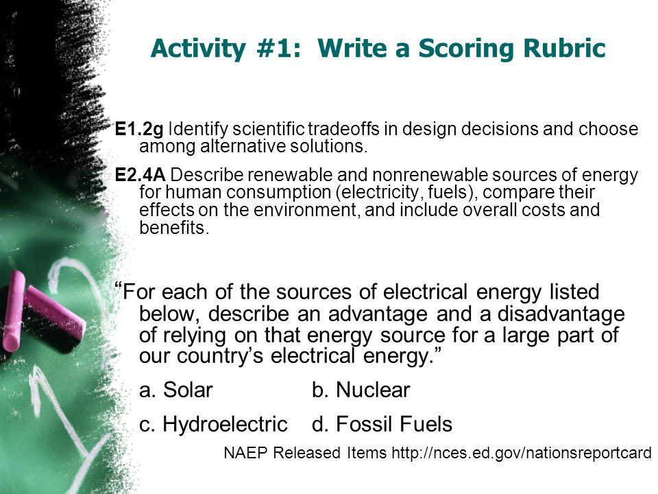 E1.2g Identify scientific tradeoffs in design decisions and choose among alternative solutions. E2.4A Describe renewable and nonrenewable sources of e