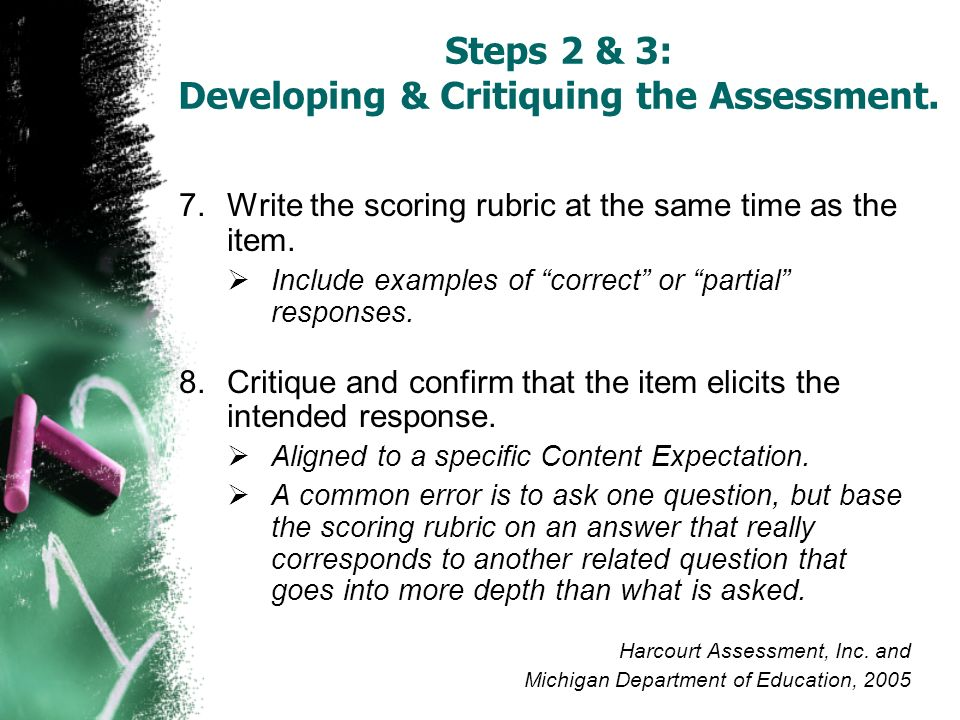 7.Write the scoring rubric at the same time as the item. Include examples of correct or partial responses. 8.Critique and confirm that the item elicit