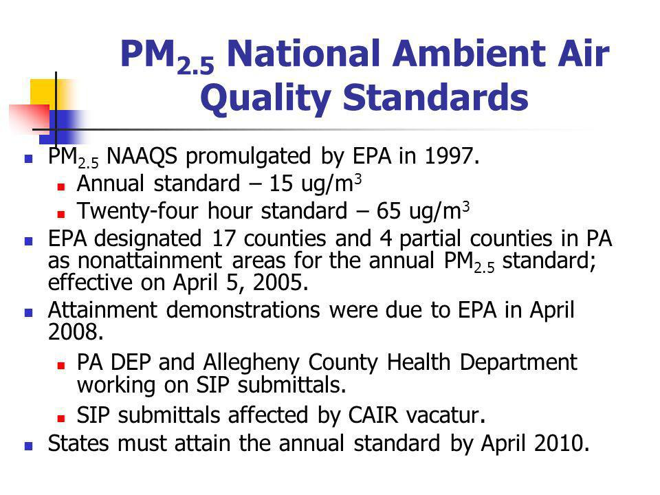 PM 2.5 National Ambient Air Quality Standards On October 17, 2006EPA lowered the 24- hour PM 2.5 standard to 35 μg/m 3.
